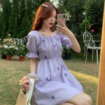 Dress Summer 2021 Purple dress , White shirt , Purple shirt S, M Middle-skirt singleton  Short sleeve Sweet square neck High waist Broken flowers Socket A-line skirt puff sleeve Others 18-24 years old Type X Fold, embroidery 30% and below solar system