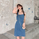 Dress Summer 2021 T-shirt, denim skirt Average size, s, M Middle-skirt Two piece set Short sleeve Sweet High waist Solid color Socket Pencil skirt routine camisole 18-24 years old Type H Hollowing out 30% and below college