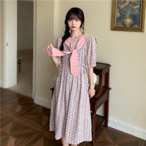 Dress Summer 2021 Average size Mid length dress Short sleeve Sweet square neck High waist Socket A-line skirt routine 18-24 years old Type A printing 30% and below Mori