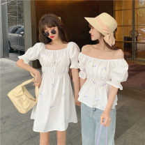 Dress Summer 2021 White, violet Average size Middle-skirt singleton  Short sleeve Sweet square neck High waist Socket A-line skirt puff sleeve 18-24 years old Type A Embroidery 30% and below solar system