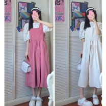 Dress Summer 2021 Average size longuette Short sleeve commute Crew neck High waist Solid color Socket 18-24 years old Korean version 30% and below