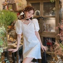 Dress Summer 2021 White, black S, M singleton  Short sleeve commute High waist Solid color A-line skirt 18-24 years old Type A Korean version bow 30% and below