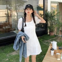 Dress Summer 2021 white S, M Middle-skirt singleton  Short sleeve Sweet square neck High waist Solid color Socket Ruffle Skirt puff sleeve Others 18-24 years old Type H Ruffles, hollows, lace 30% and below