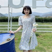 Dress Summer 2021 Blue + bag, Yellow + bag M, L Middle-skirt singleton  Short sleeve Sweet square neck High waist Broken flowers Socket A-line skirt puff sleeve 18-24 years old Type A printing 30% and below Countryside