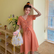 Dress Summer 2021 Orange, purple, green Average size Middle-skirt singleton  Short sleeve Sweet V-neck middle-waisted lattice A-line skirt 18-24 years old Type A Pleating 30% and below solar system