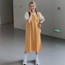 Dress Summer 2021 Orange skirt [package delivery], purple skirt [package delivery] Average size longuette Fake two pieces Short sleeve Sweet Crew neck Loose waist Decor Socket other Pile sleeve Others 18-24 years old Type A printing 30% and below Mori