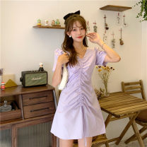 Dress Spring 2021 Average size Middle-skirt singleton  Short sleeve Sweet V-neck Solid color Socket A-line skirt Pile sleeve Others 18-24 years old Type X Tuck, fold, tie 30% and below solar system