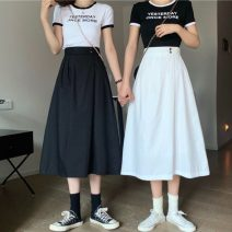 skirt Summer 2021 Average size White, black Mid length dress Sweet Umbrella skirt Solid color Type A 18-24 years old 30% and below cotton Button college