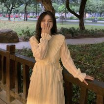 Dress Summer 2021 Light purple, light yellow Average size Mid length dress singleton  Long sleeves commute V-neck High waist Solid color Socket routine 18-24 years old Type A Korean version Lotus leaf edge 30% and below
