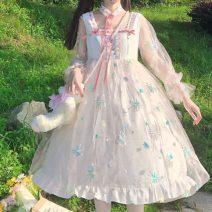 Dress Summer 2021 white Average size Middle-skirt singleton  Long sleeves Sweet High waist Socket Princess Dress 18-24 years old Type A Lotus leaf edge 30% and below Lolita