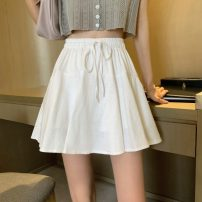 skirt Summer 2021 Average size White, black Short skirt Versatile High waist A-line skirt Solid color Type A 18-24 years old 30% and below Tuck, lace up