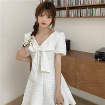 Dress Summer 2021 White, black S,M,L Middle-skirt singleton  Short sleeve Sweet V-neck High waist Solid color Princess Dress routine 18-24 years old Type A bow 30% and below princess
