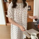 Pajamas / housewear set female Other / other Average size Cherry white, cherry orange other Short sleeve Sweet pajamas summer routine Crew neck Plants and flowers Socket youth one-piece garment Less than 20% Lotus leaf edge longuette