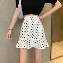 skirt Summer 2021 S,M,L White, black Short skirt commute High waist Ruffle Skirt Dot Type A 18-24 years old 30% and below polyester fiber Lotus leaf edge Korean version