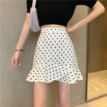 skirt Summer 2021 S,M,L White, black Short skirt commute High waist Ruffle Skirt Dot Type A 18-24 years old 30% and below polyester fiber Lotus leaf edge Korean version