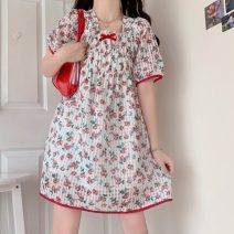 Dress Summer 2021 Picture color, picture color high quality version Average size Middle-skirt singleton  Short sleeve Sweet square neck High waist other Socket Princess Dress puff sleeve Others 18-24 years old Type A Bows, prints, folds 30% and below solar system