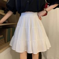 skirt Summer 2021 Average size White, black Short skirt Sweet High waist Pleated skirt Solid color Type A 18-24 years old 30% and below Fold, splice