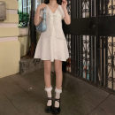 Dress Summer 2021 White, black S, M Mid length dress singleton  Short sleeve Sweet High waist Solid color A-line skirt 18-24 years old Type A bow 30% and below princess