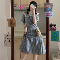 Dress Summer 2021 Plaid Dress Average size Middle-skirt singleton  Short sleeve Sweet Doll Collar High waist lattice A-line skirt other Others 18-24 years old Type A Embroidery, lace 30% and below solar system