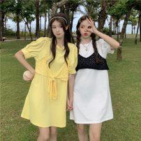 Dress Summer 2021 White, yellow, black Average size Middle-skirt Short sleeve commute Crew neck Loose waist Socket 18-24 years old Korean version Frenulum 30% and below
