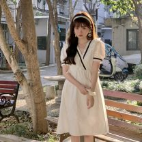 Dress Summer 2021 White, blue Average size Mid length dress singleton  Short sleeve Sweet V-neck High waist Solid color Socket A-line skirt puff sleeve 18-24 years old Type A Lotus leaf edge 30% and below solar system