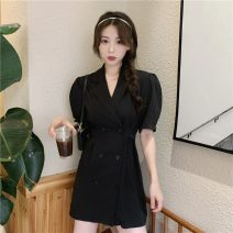 Dress Summer 2021 black Average size Middle-skirt singleton  Short sleeve commute tailored collar High waist Solid color Single breasted A-line skirt routine Others 18-24 years old Type X Korean version Button 30% and below