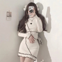 Dress Autumn 2020 Apricot, black, apricot premium, black premium Average size Middle-skirt singleton  Long sleeves Sweet Half high collar High waist Solid color Socket routine 18-24 years old Type A Embroidery solar system