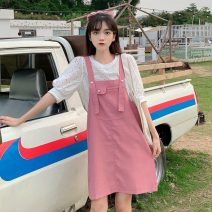 shirt White top, pink skirt with straps Average size Summer 2021 other 30% and below Short sleeve Sweet Regular Crew neck Socket 18-24 years old Gouhua hollow solar system