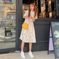 Dress Summer 2021 Pineapple dress Average size Mid length dress singleton  Short sleeve Sweet Polo collar High waist Socket Big swing routine 18-24 years old Type A printing 30% and below solar system