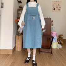 Dress Winter 2020 White top, blue skirt and pink skirt Average size Mid length dress singleton  Sweet Cartoon animation Socket straps 18-24 years old Type H pocket solar system