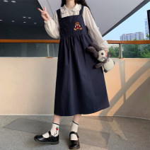 Dress Autumn 2020 White shirt, white shirt high quality version, strap skirt, strap skirt high quality version Average size Mid length dress Two piece set Sleeveless Sweet square neck Loose waist Solid color Socket A-line skirt straps 18-24 years old Type A Embroidery college