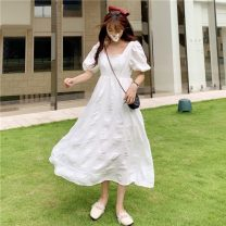 Dress Summer 2021 White short, white long S, M singleton  Short sleeve Sweet square neck High waist Solid color Socket A-line skirt puff sleeve 18-24 years old Type A fold 30% and below princess