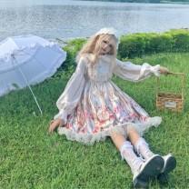 Dress Autumn of 2019 Grey OP, apricot op Average size Mid length dress singleton  Long sleeves Sweet Doll Collar High waist Cartoon animation Princess Dress bishop sleeve 18-24 years old Type A Stitching, printing Lolita