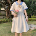 Dress Summer 2021 White (send bow), white (send bow) quality version, blue (send bow), blue (send bow) quality version Average size Mid length dress singleton  Short sleeve Sweet Doll Collar High waist Solid color Socket A-line skirt 18-24 years old Type A bow 30% and below solar system