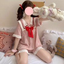 Pajamas / housewear set female Other / other Average size Pink nightdress, pink suit other Short sleeve Sweet Leisure home summer routine Big lapel stripe shorts Socket youth one-piece garment rubber string Less than 20% bow Middle-skirt