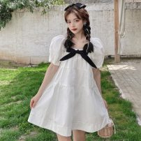 Dress Summer 2021 white Average size Middle-skirt singleton  Short sleeve Sweet square neck Loose waist Solid color Socket Princess Dress puff sleeve Others 18-24 years old Type A Stitching, bows 30% and below solar system