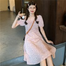 Dress Summer 2021 Lotus root, yellow Average size Mid length dress singleton  Short sleeve Sweet High waist Socket A-line skirt puff sleeve 18-24 years old Type A fold 30% and below solar system