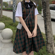 Dress Summer 2021 Dress, shirt Average size Short skirt Two piece set Short sleeve Sweet Polo collar Loose waist lattice Socket Big swing routine straps 18-24 years old Type A Bows, straps, buttons 30% and below solar system