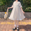 Dress Summer 2020 white Average size Mid length dress singleton  Short sleeve Sweet Doll Collar High waist Solid color Single breasted Ruffle Skirt Petal sleeve 18-24 years old Type A Lace up, stitching Lolita