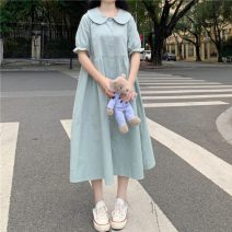 Dress Summer 2021 White, bean green Average size longuette singleton  Short sleeve Sweet Doll Collar High waist Single breasted Big swing 18-24 years old Type A Lotus leaf edge 30% and below solar system