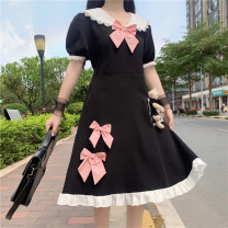 Dress Summer 2021 Light blue, white, black Average size Mid length dress singleton  Short sleeve Sweet Doll Collar High waist A-line skirt 18-24 years old Type A bow 30% and below solar system