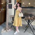 Dress Summer 2021 Yellow, black Average size longuette singleton  Short sleeve commute One word collar High waist Solid color Socket A-line skirt camisole 18-24 years old Type A Korean version Lotus leaf edge 30% and below