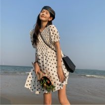 Dress Summer 2021 White with black flowers, apricot with blue flowers Average size Middle-skirt singleton  Short sleeve Sweet Crew neck Loose waist Socket Big swing 18-24 years old printing 30% and below solar system