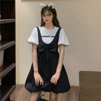 Dress Summer 2021 Butterfly dress, white coat Average size Middle-skirt Two piece set Short sleeve Sweet Crew neck High waist Solid color Socket A-line skirt straps 18-24 years old Type H Bow, fold 30% and below college