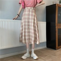 skirt Summer 2021 Average size Black, pink Mid length dress Sweet High waist A-line skirt lattice Type A 18-24 years old 30% and below Button college