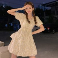 Dress Summer 2021 Blue, yellow, blue premium, yellow premium S, M Middle-skirt Two piece set Short sleeve Sweet square neck Elastic waist Decor Socket A-line skirt puff sleeve Others 18-24 years old Type A Lace up, nail bead 30% and below solar system