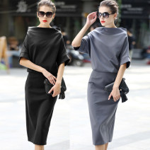 Dress Spring 2021 Gray, black S,M,L,XL Mid length dress Fake two pieces Short sleeve street One word collar middle-waisted Solid color Socket One pace skirt Bat sleeve Others 30-34 years old other other Europe and America