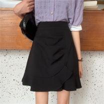 skirt Summer 2020 M,L,XL,2XL,3XL,4XL Black, purple Short skirt Versatile High waist A-line skirt Solid color Type A other polyester fiber Fold, three-dimensional decoration, asymmetry, zipper