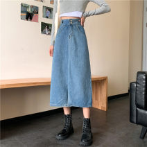 skirt Autumn 2020 S [80-95 kg], m [95-105], l [105-115 Jin], XL [115-125 Jin], 2XL [125-140 Jin], 3XL [140-160 Jin], 4XL [160-180 Jin], 5XL [180-200 Jin] H. 7559 blue Mid length dress commute other Solid color 71% (inclusive) - 80% (inclusive) Other / other pocket Korean version