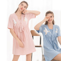 Dress Happy day Pink, blue M Japanese  Short sleeve routine summer V-neck Animal design Pure cotton (95% and above)